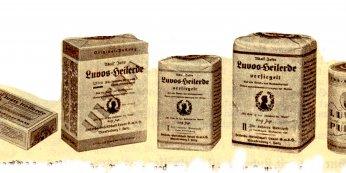 Historische Luvos Heilerde Verpackungen
