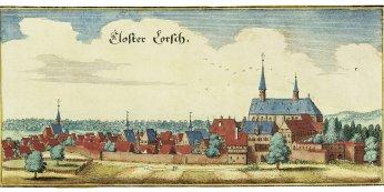 Matthias Merian d. Ä., Kloster Lorsch, Zustand vor 1621, kolorierter Kupferstich, © VSG